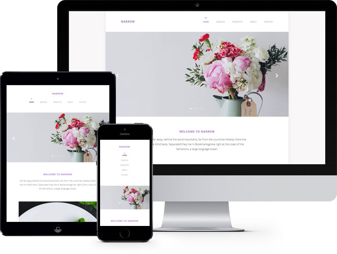 Narrow Free Website Template Using Bootstrap