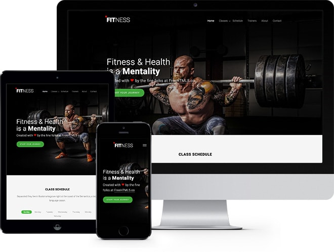 Fitness Free Website Template Using Bootstrap 3