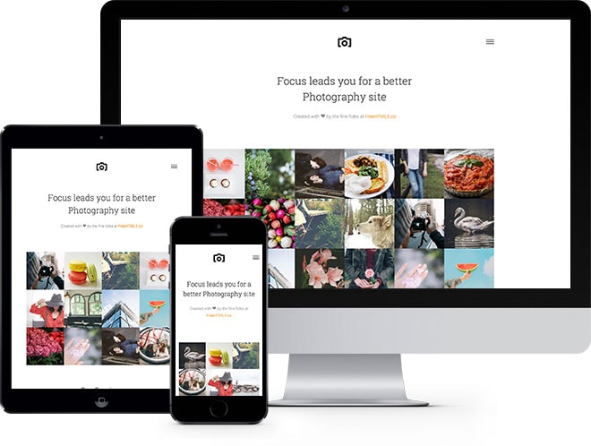 Focus Free HTML5 Bootstrap Template for Photography