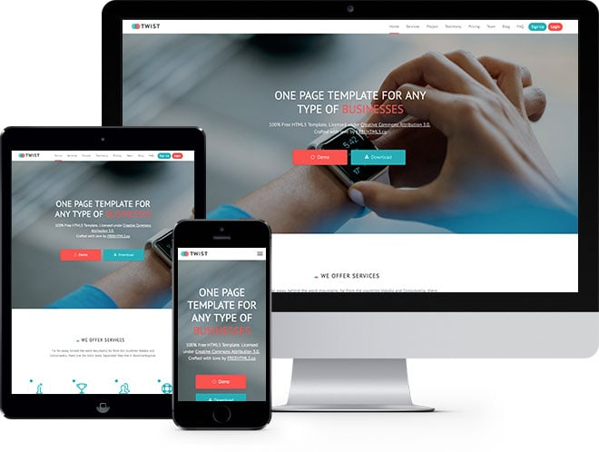 Twist Free Website Template Using Bootstrap - Free web site template