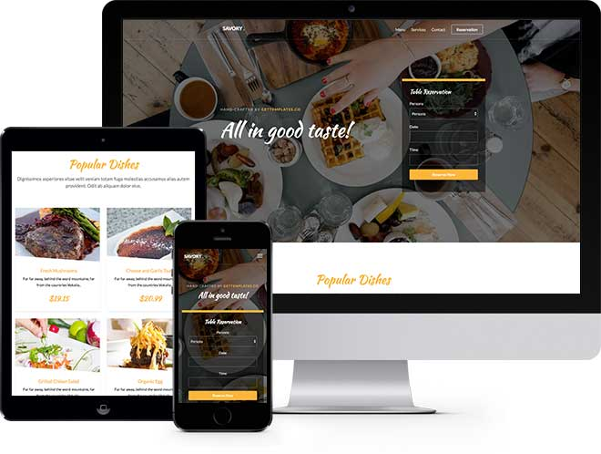 Savory Free Website Template for Restaurants Websites
