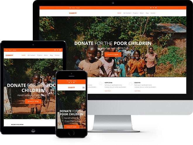 Charity Free Website Template Using Bootstrap for Non-profit Websites
