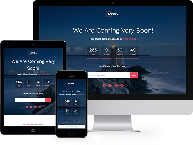 launch free html5 bootstrap template for coming soon page