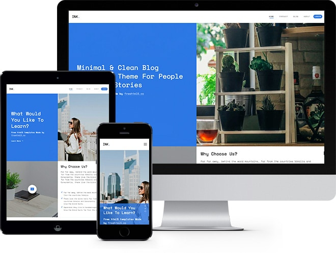 Ink Free HTML5 Bootstrap Template a Multi Purpose Website Template