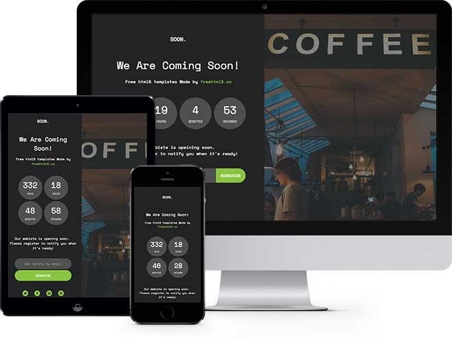 Soon Free HTML5 Bootstrap Coming Soon Template
