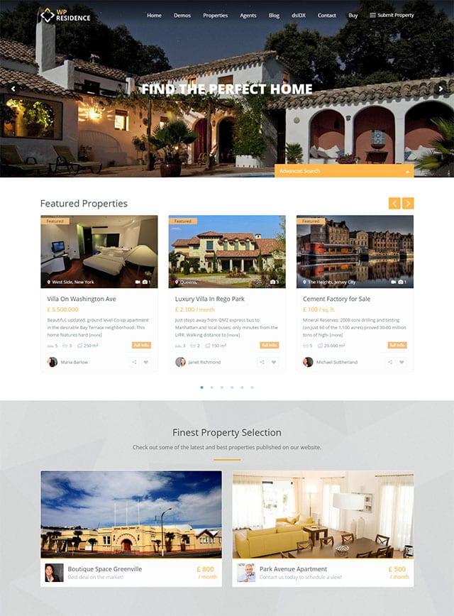 Residence – Real Estate Wordpress Theme