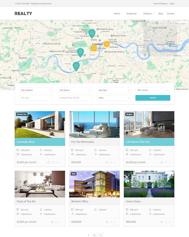 Realty – Unique Real Estate Wordpress Theme