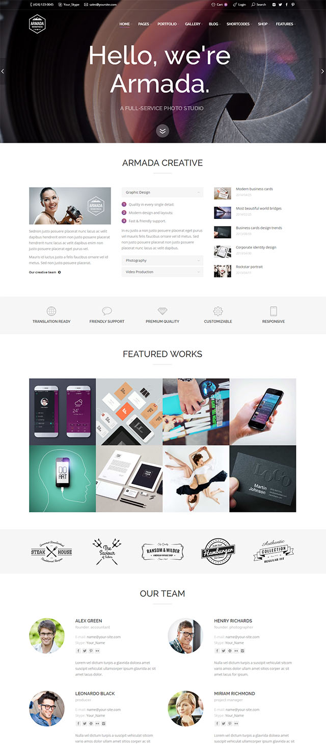 Armada  – Multifunction Photography Wordpress Theme