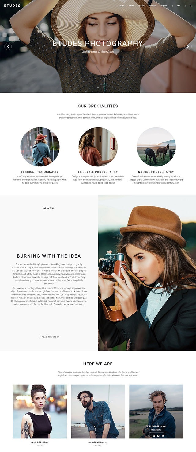Etudes Premium Photography Wordpress Theme