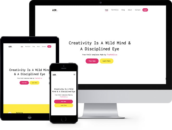 Air Free HTML5 Bootstrap Template for Portfolio and Landing
