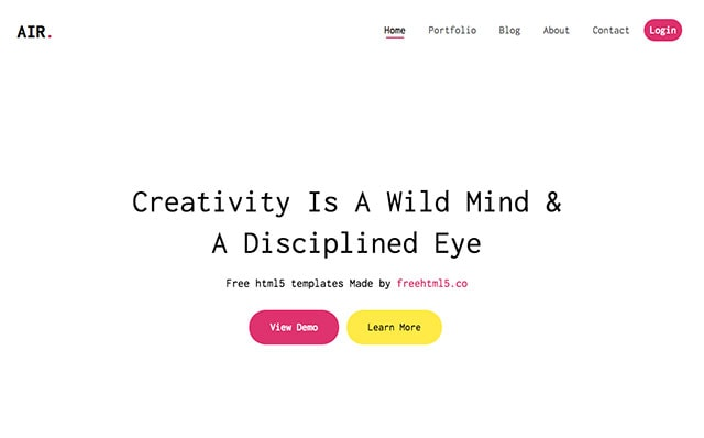 Air: Free HTML5 Bootstrap Template for Portfolio and Landing Pages - Free Responsive HTML5 Template