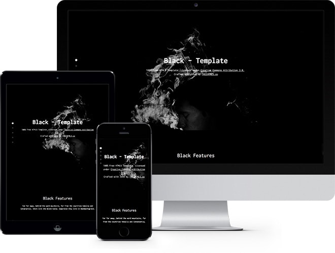 Black One Page Free HTML Bootstrap Template For Landing Pages - Free landing page templates html5