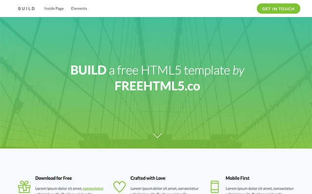 Build: Free HTML5 Bootstrap Template - Free Responsive HTML5 Template