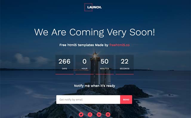 Launch: Free HTML5 Bootstrap Template for Coming Soon page - Free Responsive HTML5 Template
