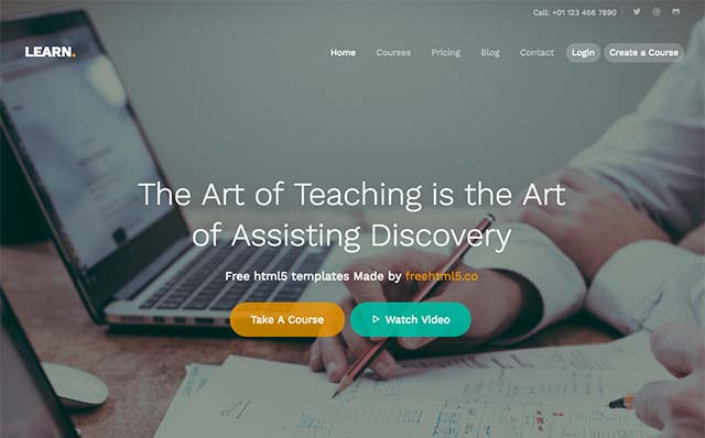 Learn: Free Website Template Using Bootstrap for School Courses Websites - Free Responsive HTML5 Template