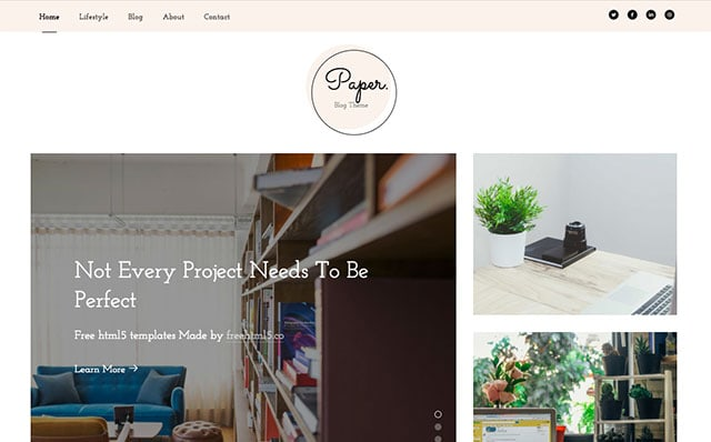 Paper: Free HTML5 Bootstrap Template for Personal Blog - Free Responsive HTML5 Template