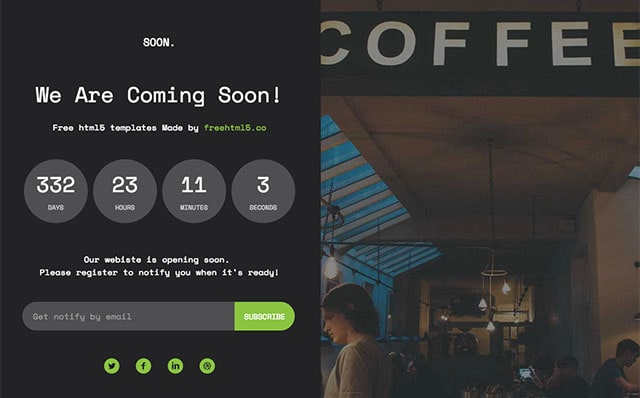 Soon: Free HTML5 Bootstrap Coming Soon Template - Free Responsive HTML5 Template