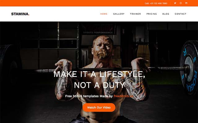 Stamina: Free HTML5 Bootstrap Template for Fitness Websites - Free Responsive HTML5 Template