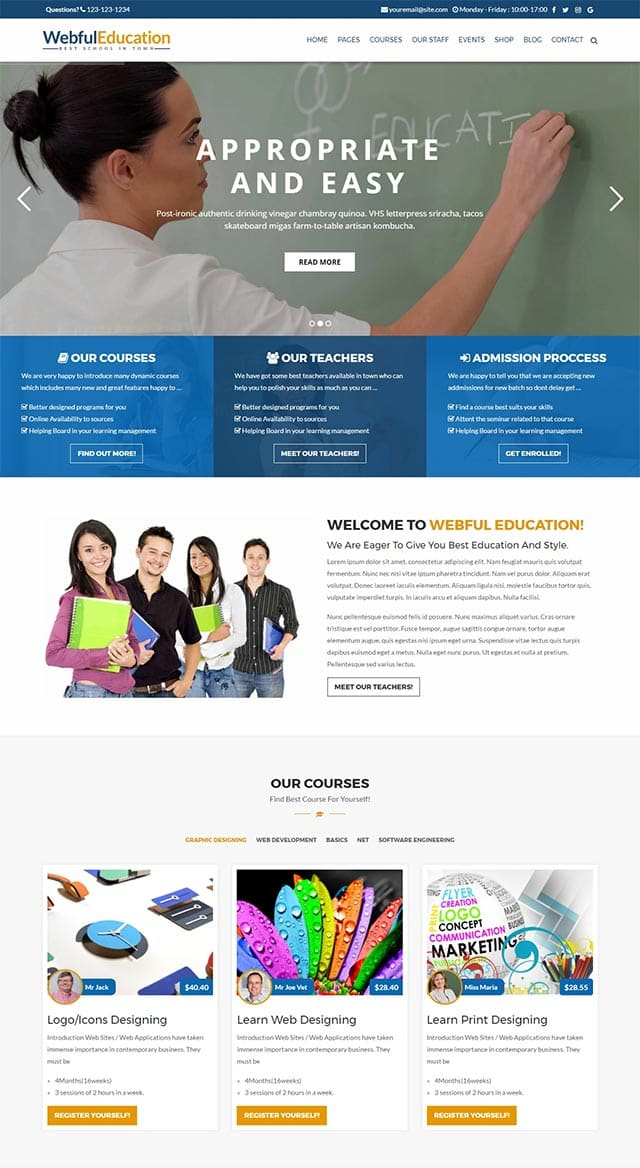 Education – College, University, School, Institutes WordPress Theme