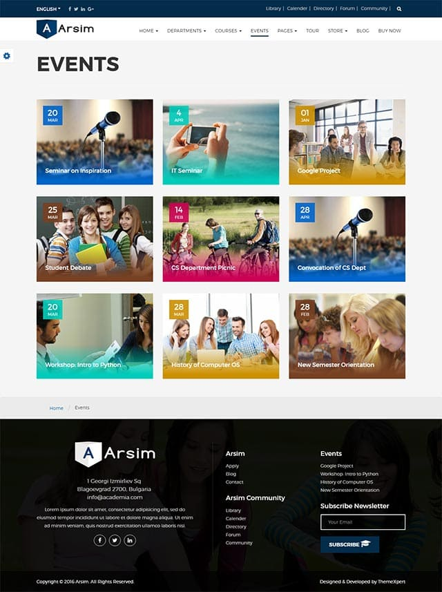Arsim – Education WordPress Theme with Woocommerce
