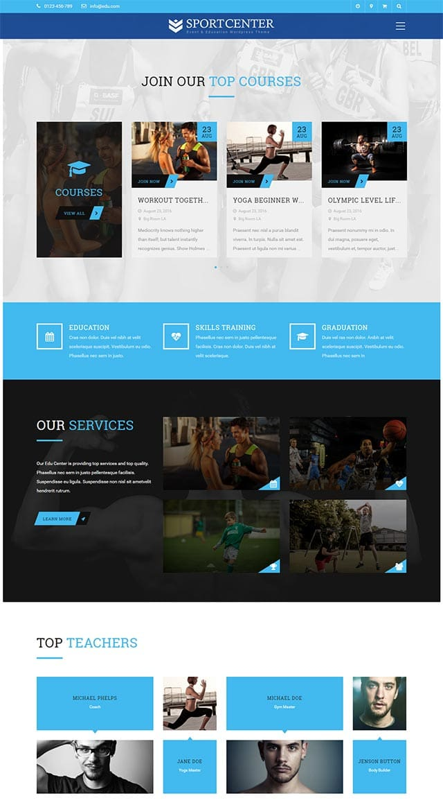 Sport Center – Multipurpose Events & Education WordPress Theme