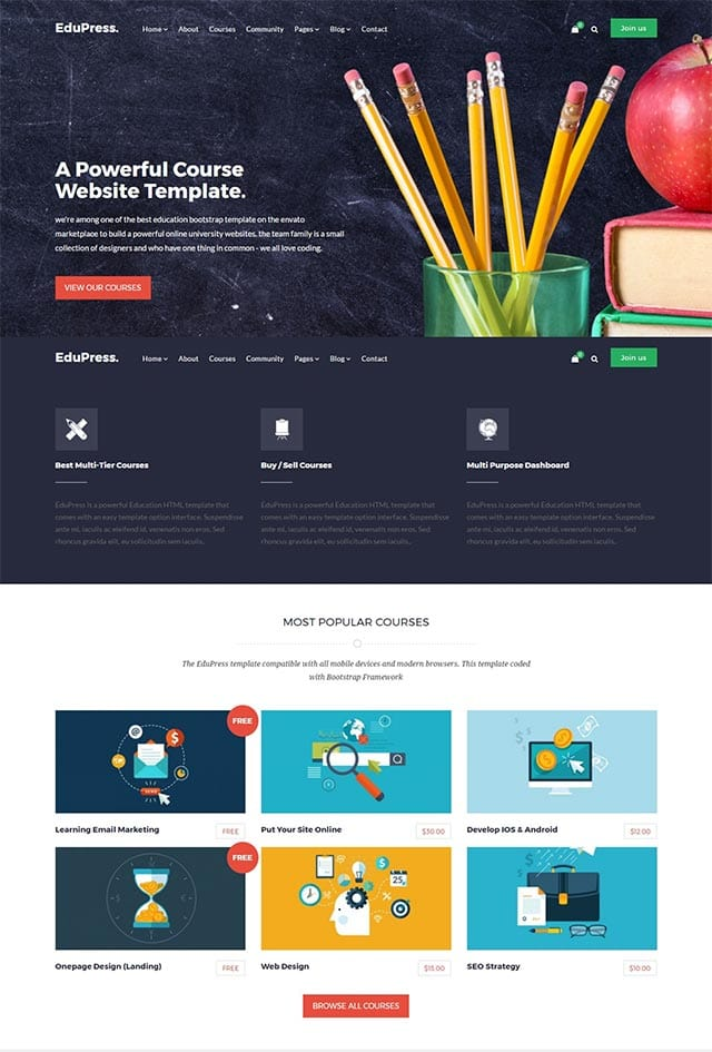 EduPress – Responsive LMS, University Education WordPress Theme