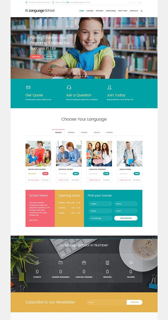 Language School – Courses & Learning Management System Education WordPress Theme
