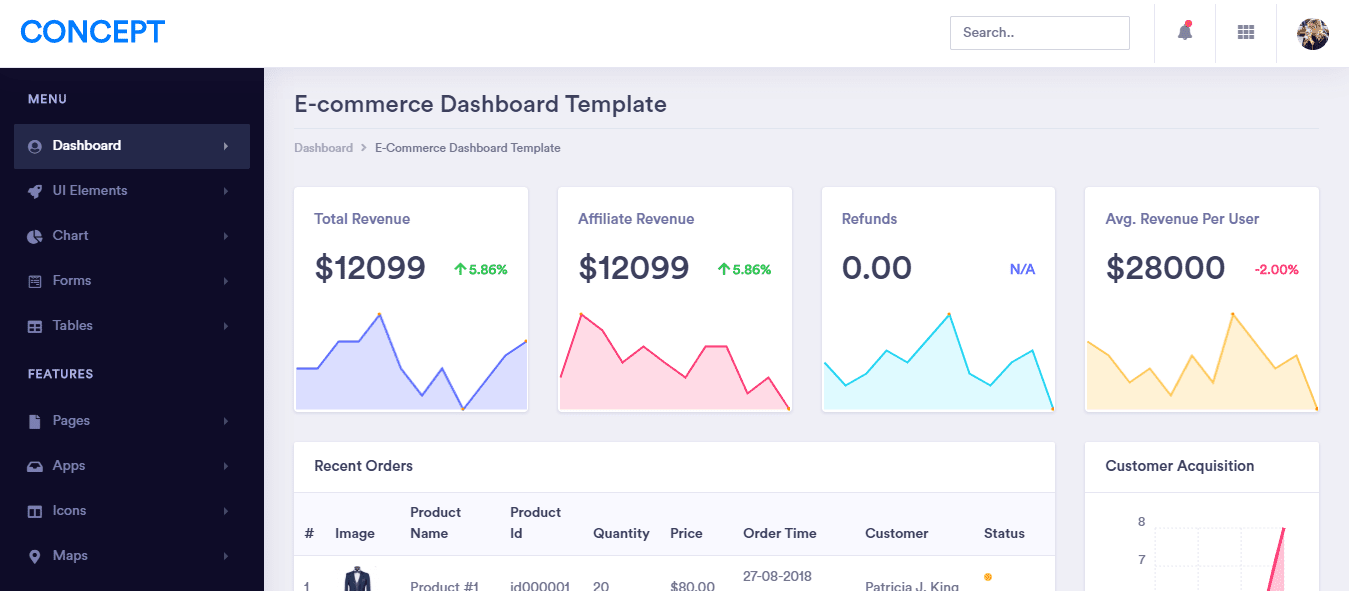 Concept: free bootstrap admin dashboard