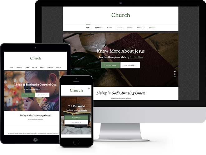 Church Free Responsive HTML Bootstrap Template - Membership website templates free