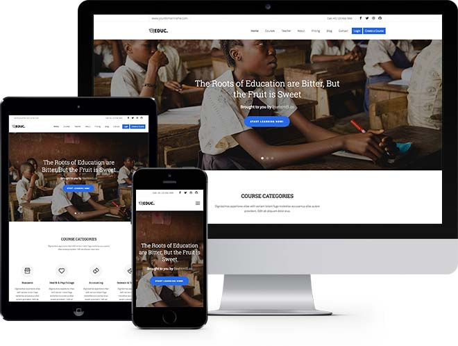 Education Free HTML5 Bootstrap Template eLearning School Websites