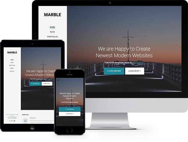 marble free html5 bootstrap template for portfolio or multi purpose websites. Black Bedroom Furniture Sets. Home Design Ideas