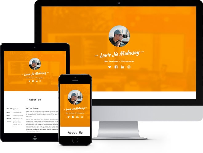 Profile Free HTML5 Bootstrap Template for VCard and Resume