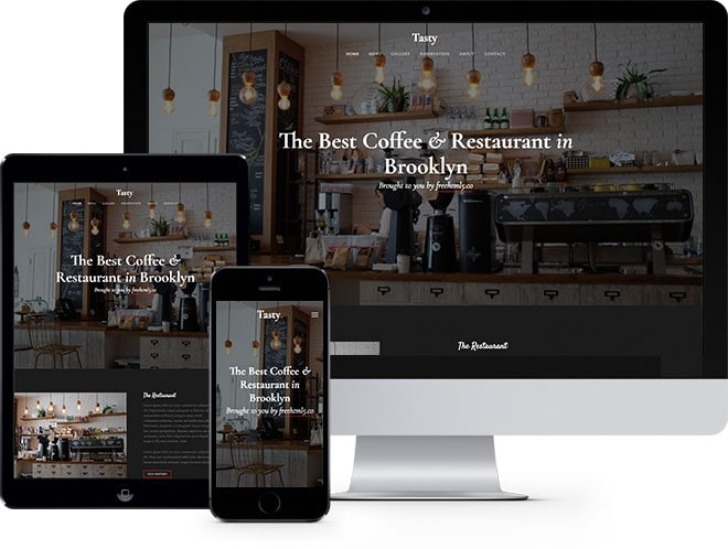 Tasty free bootstrap html5 template for restaurant websites tasty is a free bootstrap html5 template perfect for restaurant and bars it has a gallery with cool zoom effect reservation form cool animation effect maxwellsz