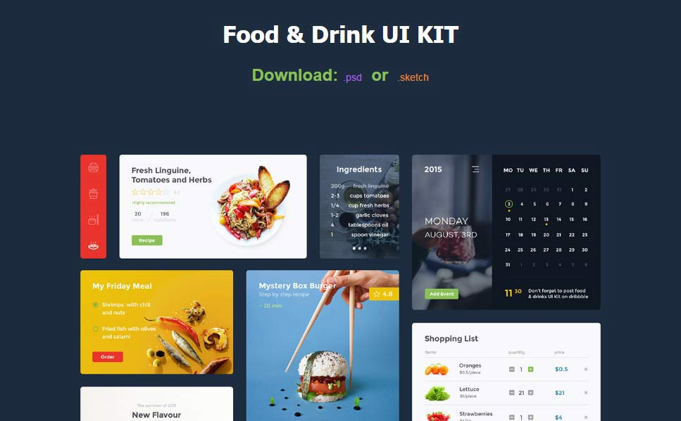 30 finest free ui kit 2017 fandeluxe Image collections