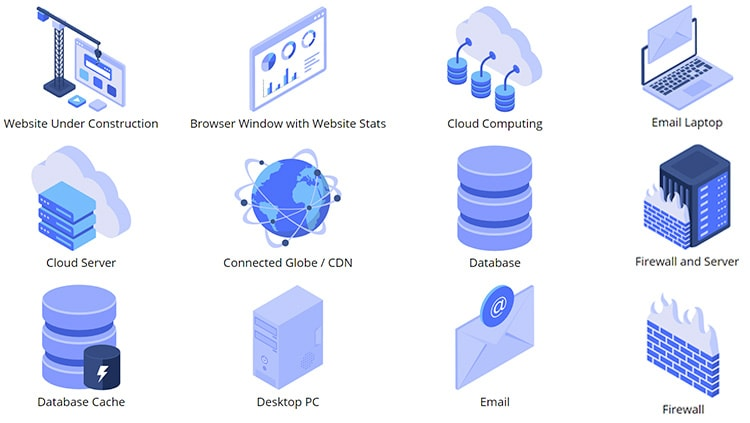 Isometric Web Hosting (35 Icons)