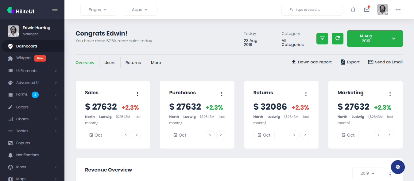HiliteUI Bootstrap Admin Template