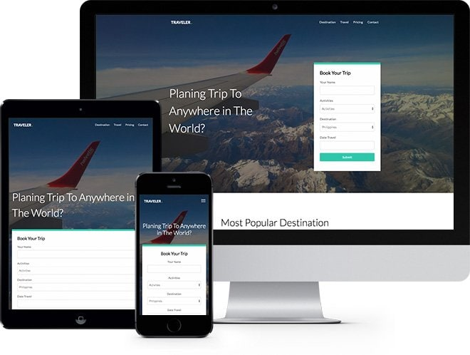 Traveler: Free HTML5 Bootstrap Template Travel and Hotel Websites
