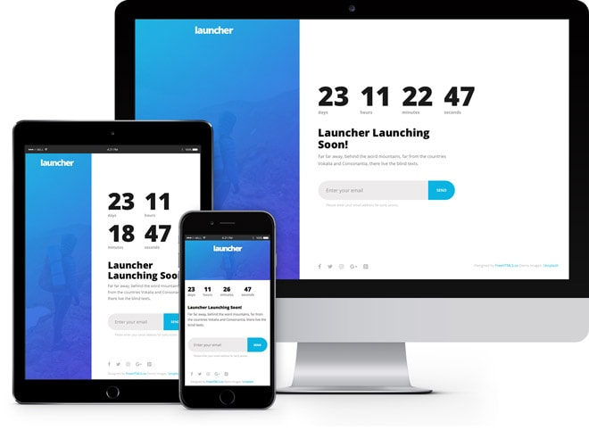 Launcher simple free coming soon HTML5 bootstrap template