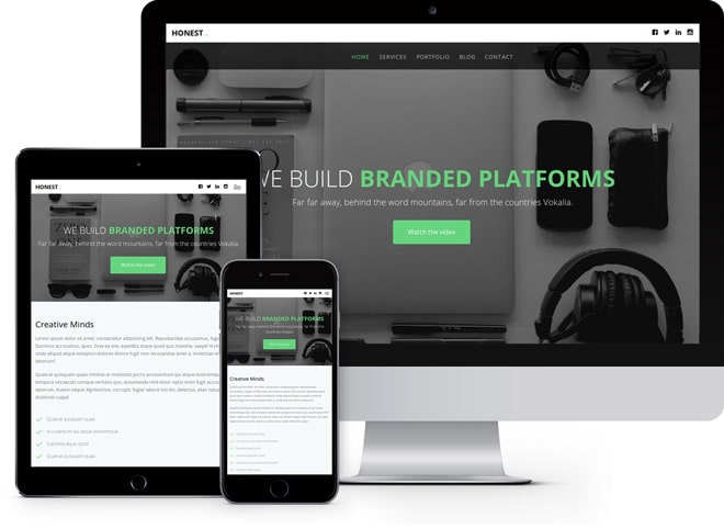 Honest: HTML5 template for online agencies