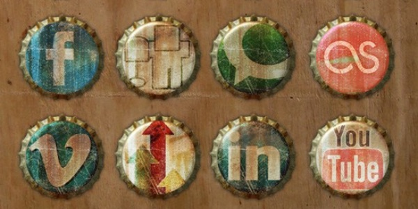 Old Bottle Crowns Icon Set