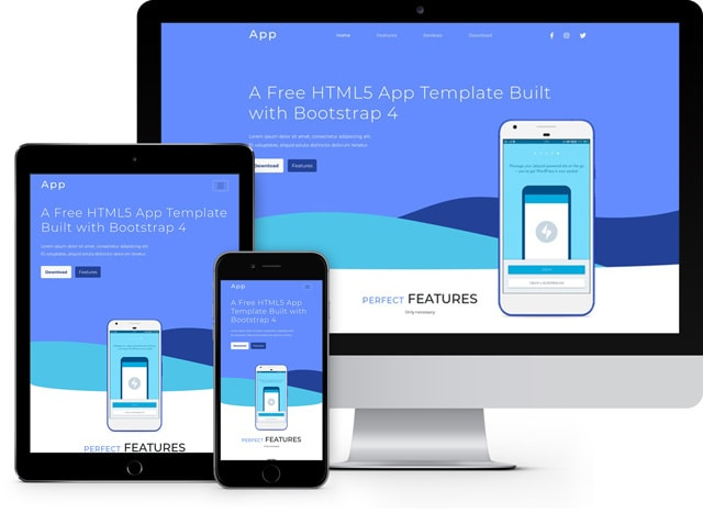 App free html5 template for ios/Android app website